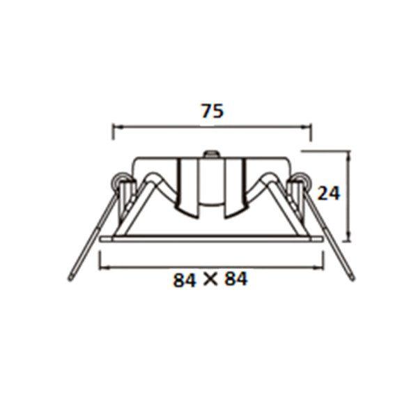 Projector quadrado 84x84 com foco direccionável