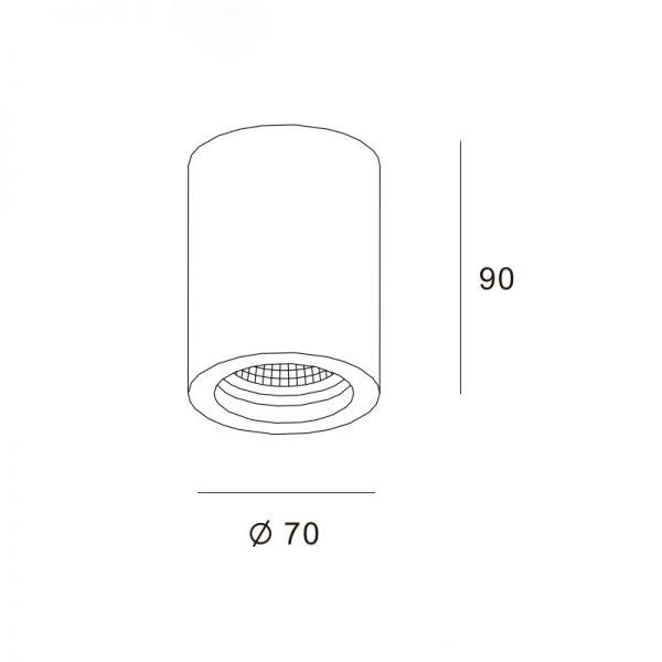 Cilindro saliente Φ70x90
